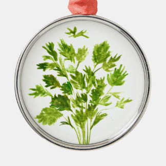 Parsley herbs Parsley print Silver-Colored Round Ornament