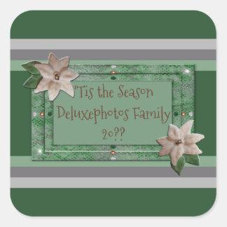 Parsley Poinsettia Stripes Square Sticker
