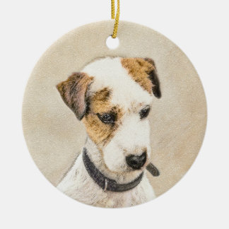 Parson Jack Russell Terrier Painting 2 Dog Art Ceramic Ornament