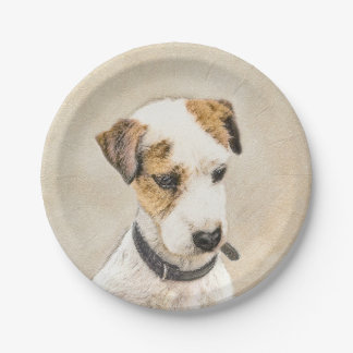 Parson Jack Russell Terrier Painting 2 Dog Art Paper Plate