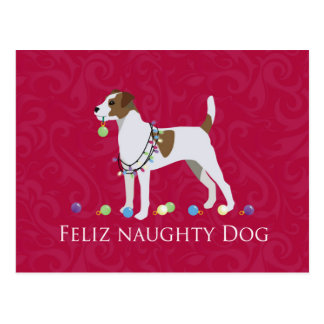 Parson Russell Terrier Feliz Naughty Dog Christmas Postcard