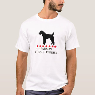 Parson Russell Terrier T-shirt with Red Stars