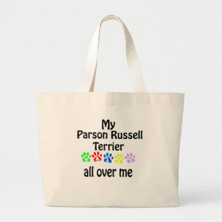 Parson Russell Terrier Walks Design Large Tote Bag
