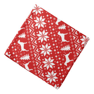 Parson Russell Terriers Christmas Pattern Red Bandana
