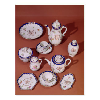 Part of a Worcester monogrammed tea service Postcard