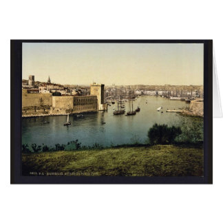 Part of the old harbor, Marseilles, France classic Card