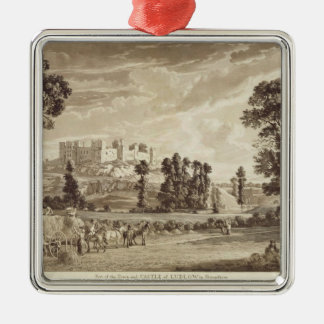 Part of the Town and Castle of Ludlow in Shropshir Silver-Colored Square Ornament