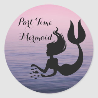 Part Time Mermaid Pink Ocean Sunset Stickers