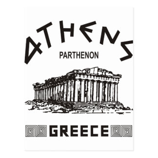 Parthenon - Athens - Greek (black) Postcard