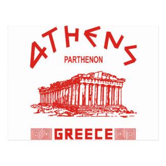 Parthenon - Athens - Greek (red) Postcard