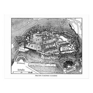 Parthenon in Athens Map Postcard