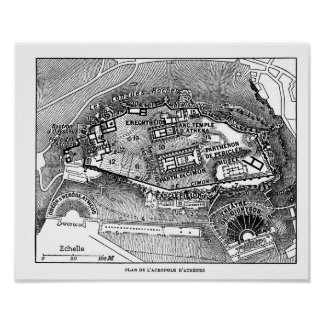 Parthenon in Athens Map Poster