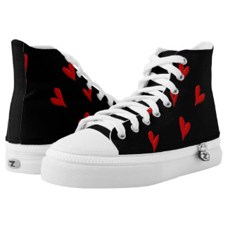 Partial Red Hearts on Black High Tops