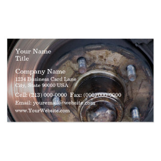 Partial vehicle brake disc and bolts business card