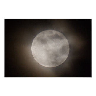 Partially Cloudly Full Moon, Ohio Poster
