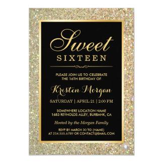 Partie à la mode de sweet sixteen d'étincelles de carton d'invitation  12,7 cm x 17,78 cm