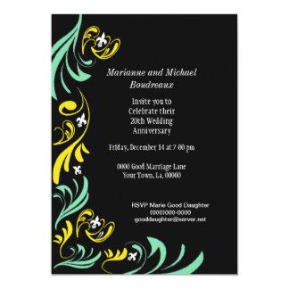 Partie blanche de Green Fleur de Lis Vine d'or Carton D'invitation 12,7 Cm X 17,78 Cm