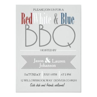 Partie blanche et bleue rouge moderne de BBQ | 4 Carton D'invitation 16,51 Cm X 22,22 Cm