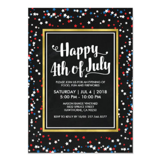 PARTIE BLANCHE ROUGE de BLEU 4 juillet Carton D'invitation 11,43 Cm X 15,87 Cm