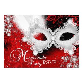 Partie blanche rouge RSVP de mascarade de masque Carton D'invitation 8,89 Cm X 12,70 Cm