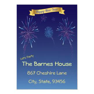 Partie bleue de nouvelles années de feux carton d'invitation  12,7 cm x 17,78 cm