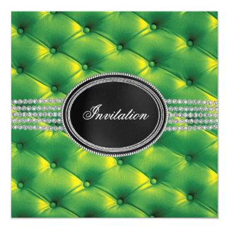 Partie de cravate noire de diamant noir de vert de carton d'invitation  13,33 cm