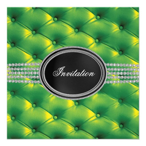 Partie de cravate noire de diamant noir de vert de invitation