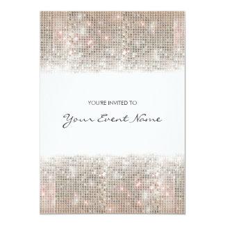 Partie de fête de paillettes argentées carton d'invitation  12,7 cm x 17,78 cm