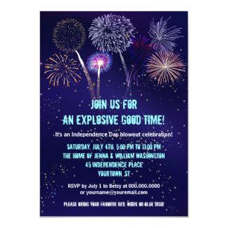 Partie de feux d'artifice de ciel nocturne 4 carton d'invitation  11,43 cm x 15,87 cm