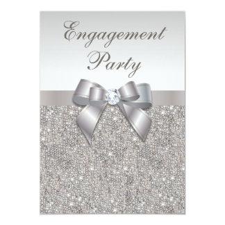 Partie de fiançailles argentée d'arc de diamants carton d'invitation  12,7 cm x 17,78 cm