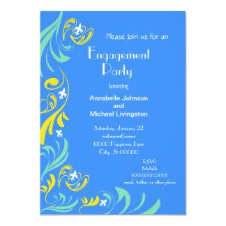 Partie de fiançailles bleue de Yellow Fleur de Lis Carton D'invitation 12,7 Cm X 17,78 Cm