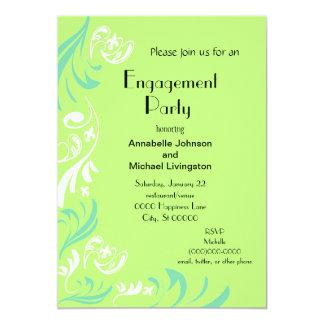 Partie de fiançailles de Fleur de Lis Vine de vert Carton D'invitation 12,7 Cm X 17,78 Cm