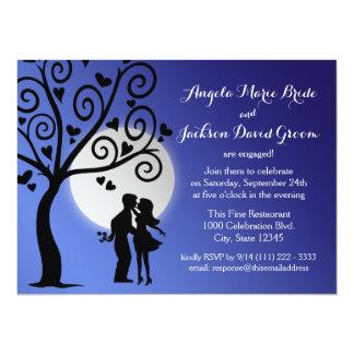 Partie de fiançailles de silhouette de couples carton d'invitation  13,97 cm x 19,05 cm