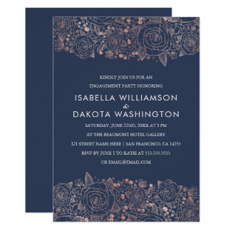 Partie de fiançailles florale chic rose d'or et de carton d'invitation  12,7 cm x 17,78 cm