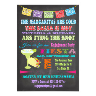 Partie de fiançailles mexicaine de fiesta de carton d'invitation  12,7 cm x 17,78 cm