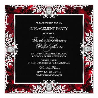 Partie de fiançailles rouge blanche noire de carton d'invitation  13,33 cm