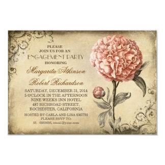 partie de fiançailles rustique de pivoine rose carton d'invitation 8,89 cm x 12,70 cm