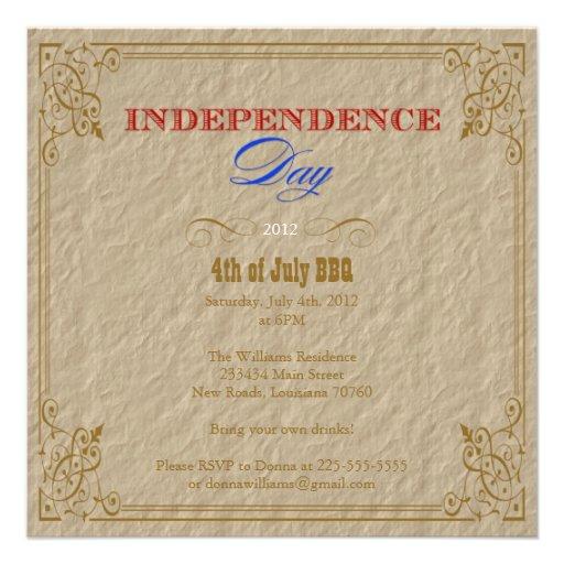 Partie de Jour de la Déclaration d'Indépendance Invitations Personnalisées