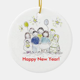 Partie de nouvelle année ornement rond en céramique