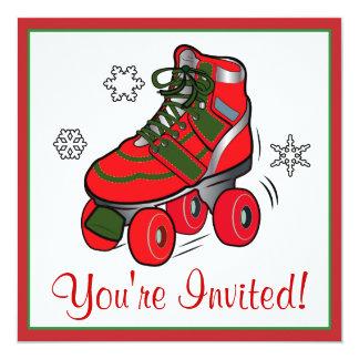 Partie de patinage de rouleau de Noël Carton D'invitation 13,33 Cm