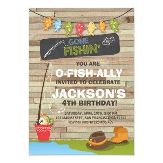 Partie de pêche en bois d'invitation carton d'invitation  12,7 cm x 17,78 cm