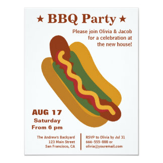 Partie de pendaison de crémaillère de hot-dog de carton d'invitation 10,79 cm x 13,97 cm