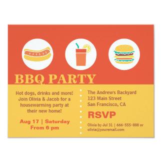 Partie de pendaison de crémaillère de hot-dog et carton d'invitation 10,79 cm x 13,97 cm