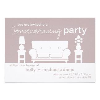 Partie de pendaison de crémaillère - salon blanc carton d'invitation  12,7 cm x 17,78 cm
