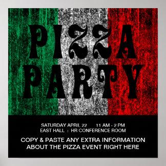 partie de pizza (drapeau italien) poster