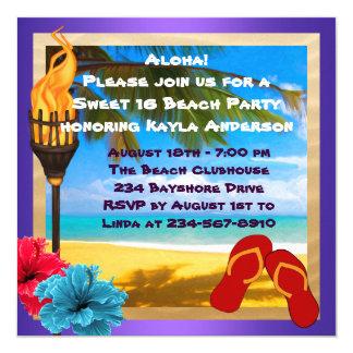 Partie de plage de Luau du bonbon 16 Carton D'invitation 13,33 Cm
