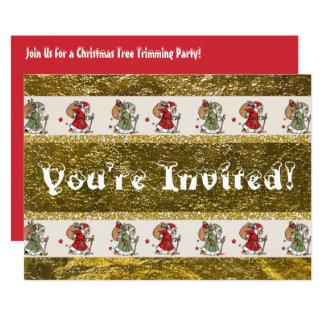 Partie de règlage d'arbre de Noël de père Carton D'invitation 12,7 Cm X 17,78 Cm