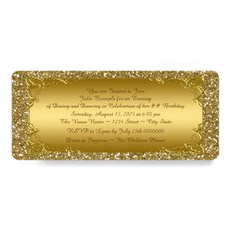 Partie d'or de billet de scintillement d'or carton d'invitation  10,16 cm x 23,49 cm
