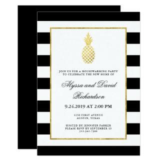 Partie d'or rayée de pendaison de crémaillère carton d'invitation  12,7 cm x 17,78 cm