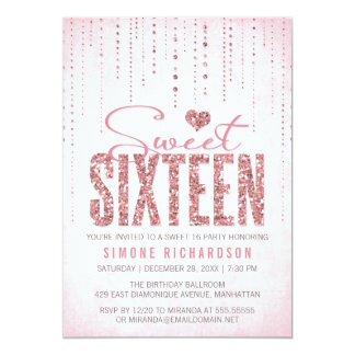 Partie du bonbon 16 à regard de scintillement carton d'invitation  12,7 cm x 17,78 cm